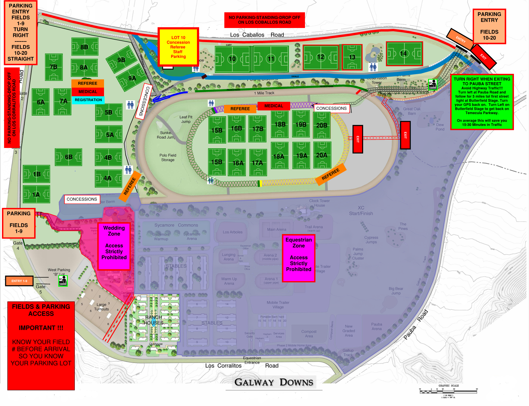 Galway Downs Field Map October 16 and 17, 2021